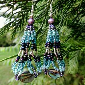 Hand Beaded Abalone and Freshwater Pearl Earrings